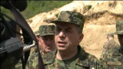 "Генерал Драганић и амбасадор Скaт у бази ""Југ"""