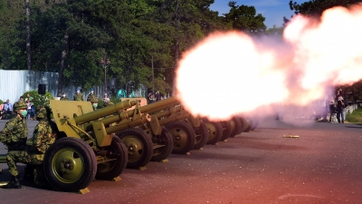 Gun salute on the occasion of Victory Day