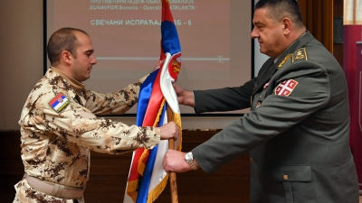 Испраћај тима за заштиту бродова у мисију ЕУ Аталанта: генерал-мајор Петар Цветковић