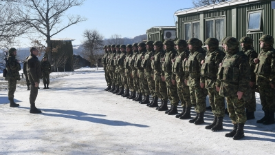With Members of the Serbian Armed Forces in the Base Trmka on Christmas