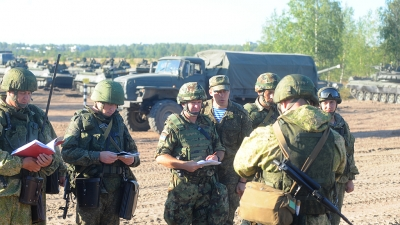 Members of the Serbian Armed Forces at the Exercise of the Western Military District in Russia